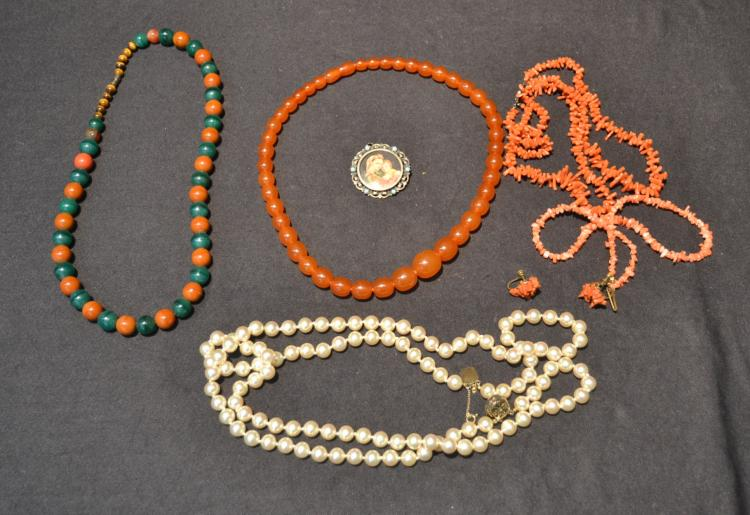 ASSORTED BEADS INCLUDING AMBER ? , CORAL