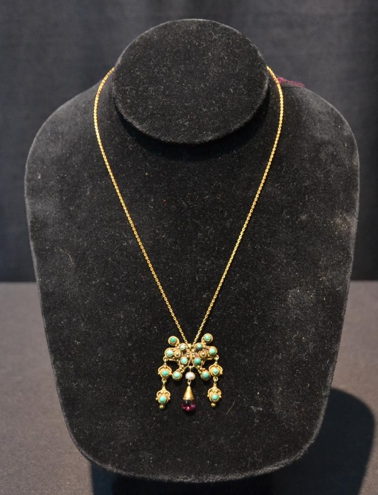 14kt GOLD LAVALIER PENDANT & CHAIN WITH
