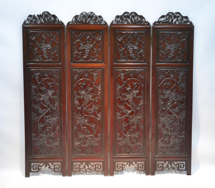 4-PANEL CHINESE CARVED ROSEWOOD SCREEN