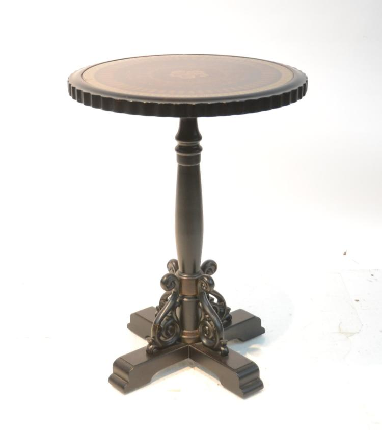 PEDESTAL SIDE TABLE WITH DECORATED GLASS TOP