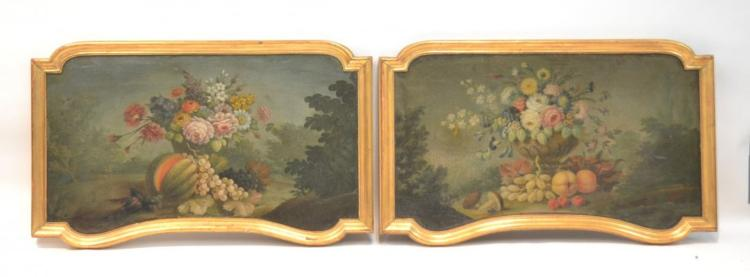 (Pr) EARLY 19thC UNUSUAL SHAPE FLORAL & FRUIT