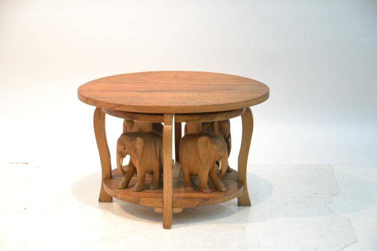 Carved elephant coffee table with 4 Elephant coffee table