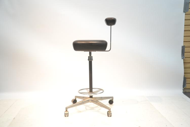 Herman Miller Black Leather Perch Stool
