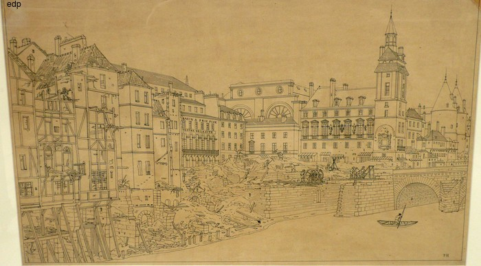 Hoffbauer, Feodor. A VIEW OF BUILDINGS ALONG THE SEINE SHOWING MAJOR CONSTRUCTION WORK