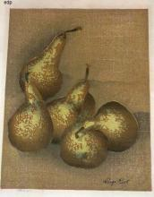 Rist, Luigi. PEARS. Woodcut in colors, 1942. Titled in pencil in the margin, and signed in ink within the image. Edition of 100. 9 1/8 x 7 1/8 inches, 231 x 182 mm. Traces of old tape at the top margin, verso, else in very good condition.