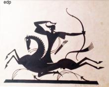 Diederich, William Hunt. SILHOUETTE OF A GREEK ARCHER ON HORSEBACK.