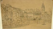 Hoffbauer, Feodor. A VIEW OF BUILDINGS ALONG THE SEINE SHOWING MAJOR CONSTRUCTION WORK.