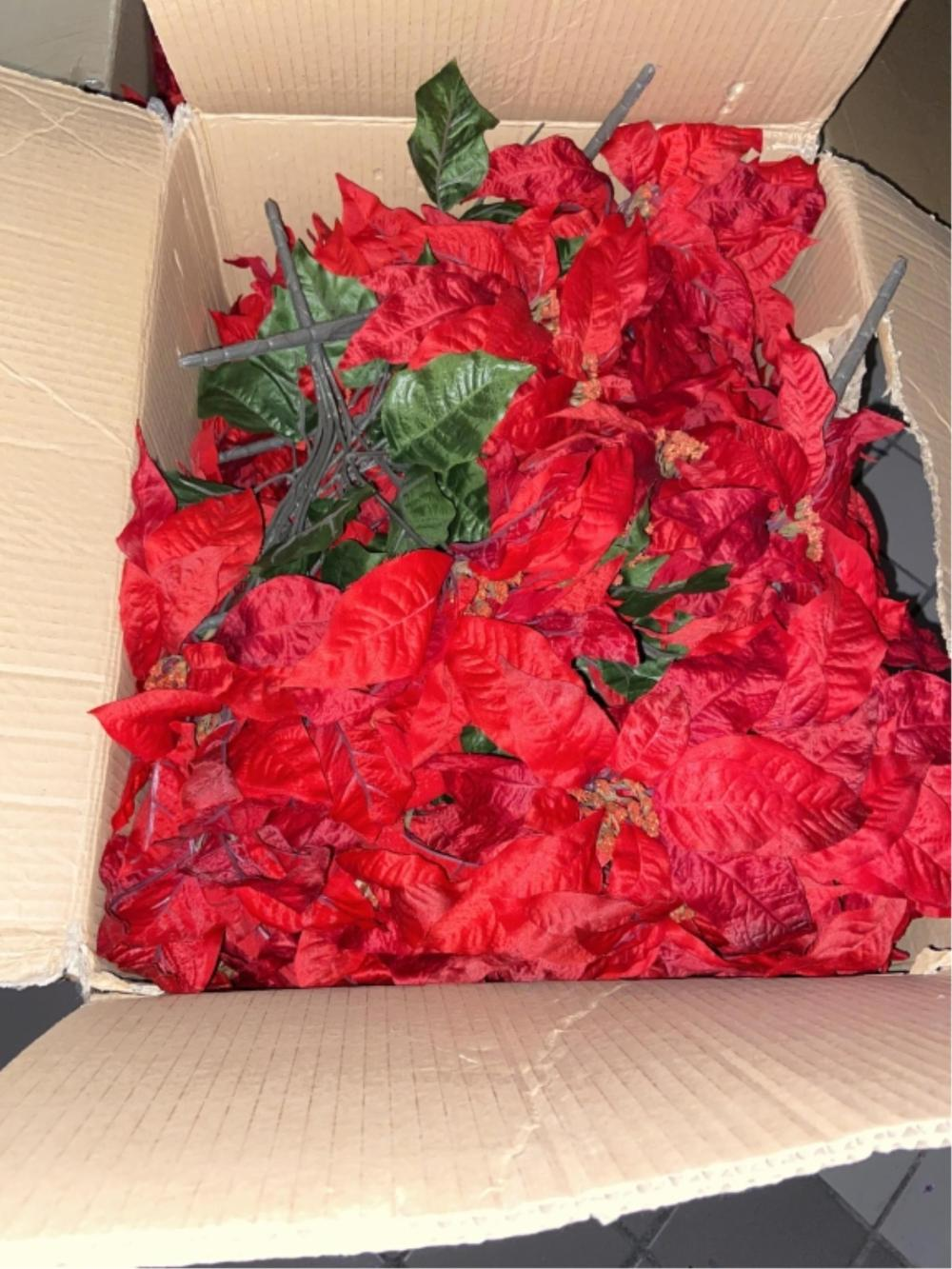 Large Assortment Of Faux Poinsettia Xmas Decor