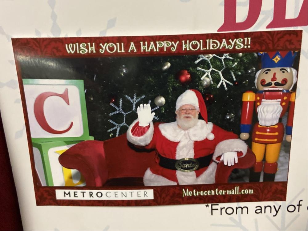 Metro Center Mall Christmas Santas Bench Seat