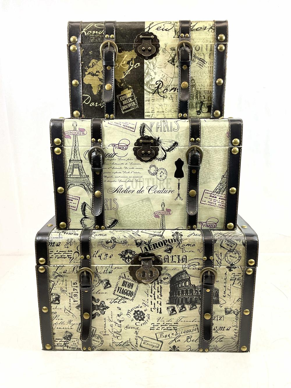 (3pc) Decorative French Print Suitcase Storage's