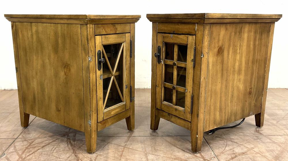 Pair Broyhill Country Style Reclinermate End Tables