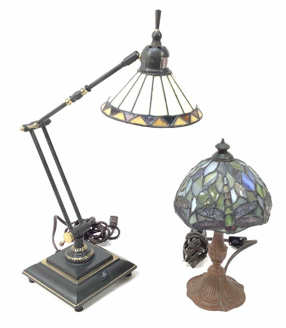 (2pc) Vintage Style Slag Glass Lamps