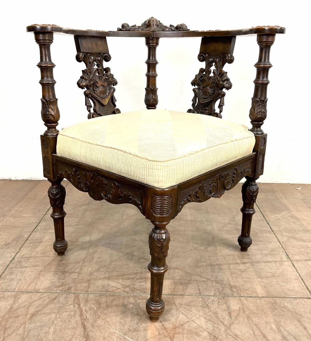 Vtg Carved Renaissance Revival Style Corner Chair
