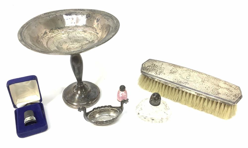 Weighted Sterling Brush, Compote, Thimble
