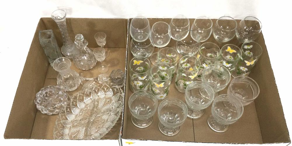 Assorted Stemware, Crystal Vases, Syrup Decanter