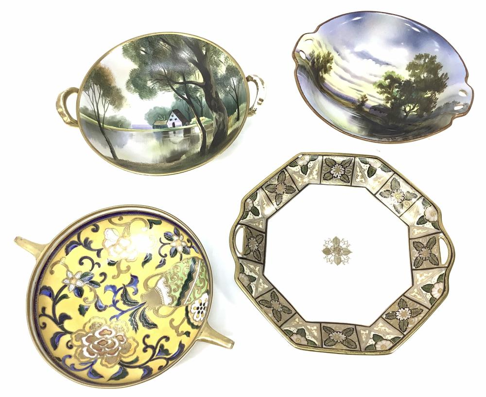 (4pc) Nippon Moriage Porcelain Servingware