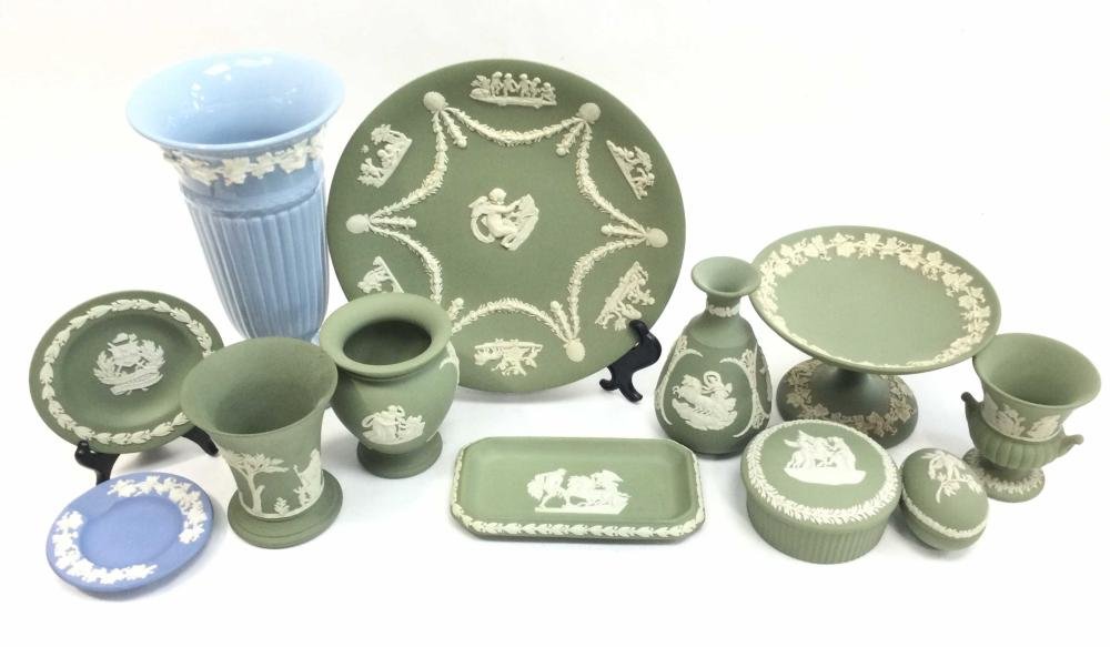 (12) Wedgwood Plate, Compote, Vase, Tray, Saucers