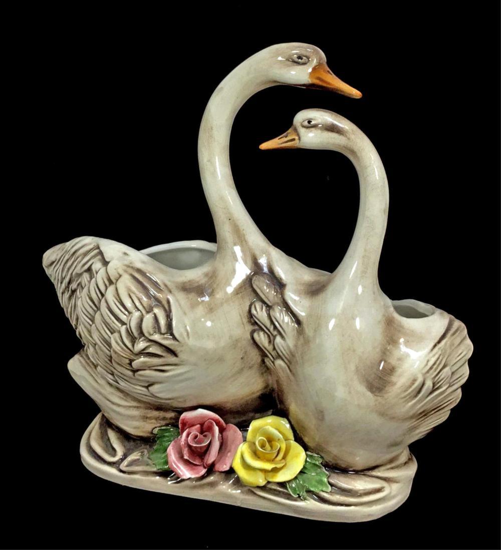 Italian Capodimonte Porcelain Geese Sculpture