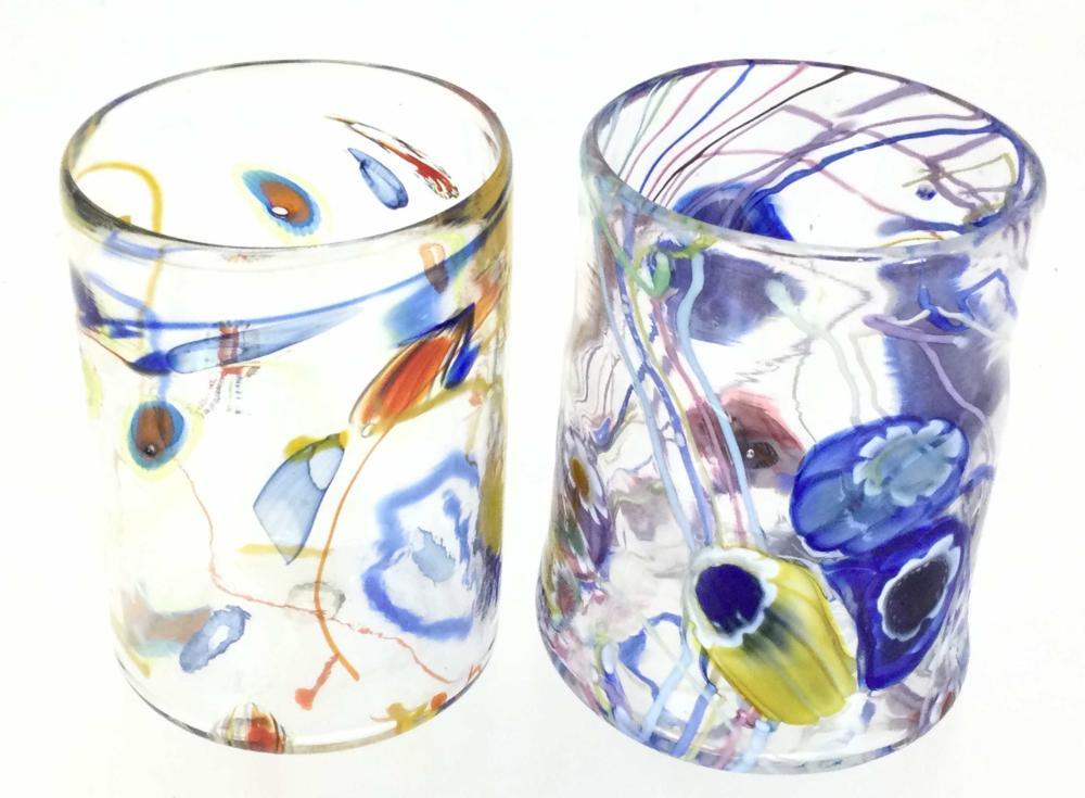 Paul Counts Signed Art A Glass Tumblers