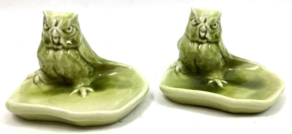 (3pc) Vintage Rookwood Owl Ashtray & Candleholder