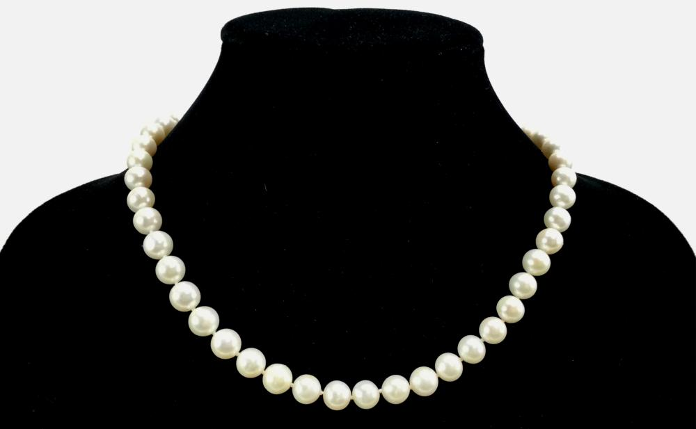 18K White Gold Filled Pearl Necklace