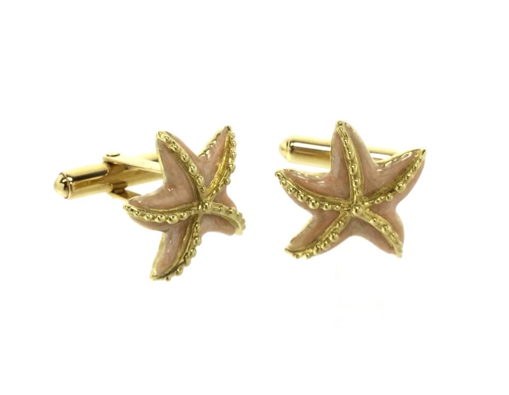 18k Gold Jan Leslie Starfish Cuff Links