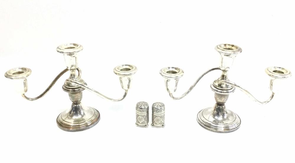 (2) Vintage Fisher Sterling Silver Candelabras w/ Shakers