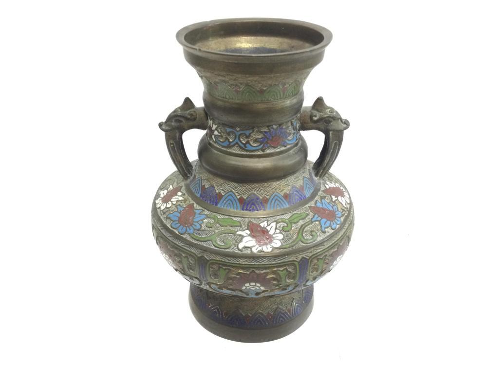 11in Vintage Japanese Enamel Champleve Vase