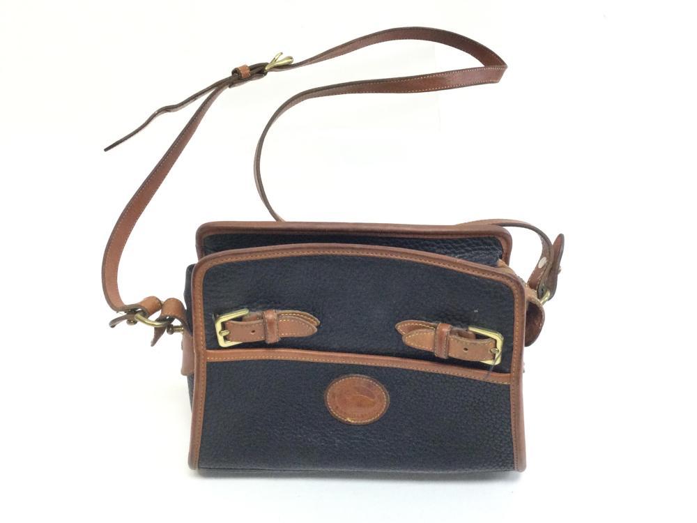 Dooney & Bourke Brown & Navy Blue Leather Handbag