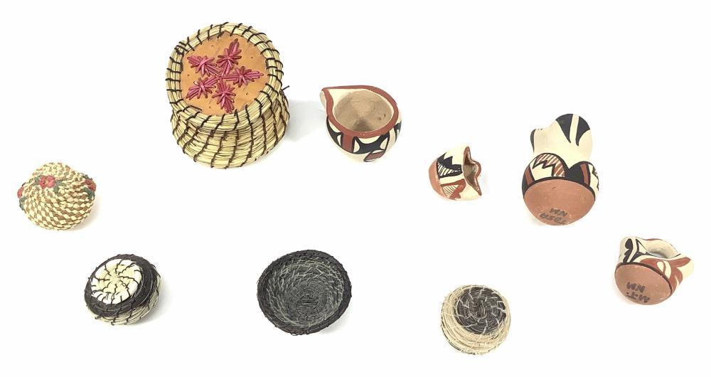 Native American Mini Pottery, Jamez, Tosa, Baskets