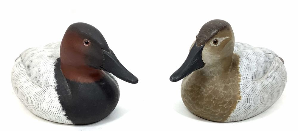 (2pc) Randy Tull Signed Carved Wood Duck Decoy