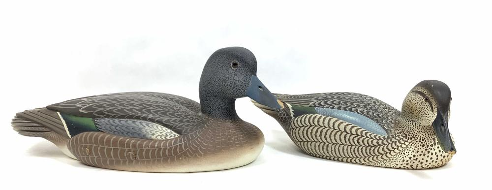 (2pc) Paul Nock Signed Carved Wood Duck Decoy