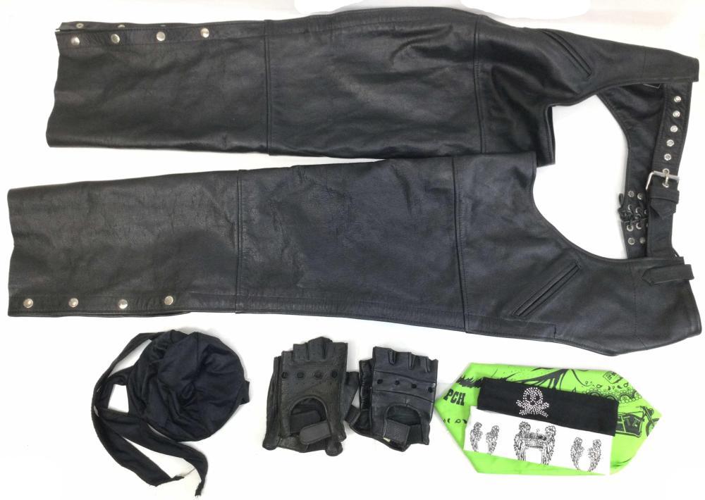 Leather Biker Chaps, Cap, Headbands & Bandana