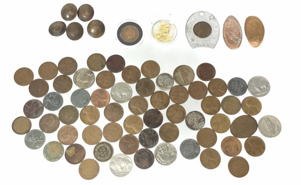 Indian Head Buttons, Wheat Cents, Buffalo Nickels