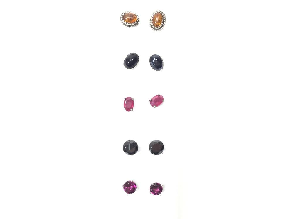 Sterling Silver Turquoise, Opal & Onyx Earrings, Cuff