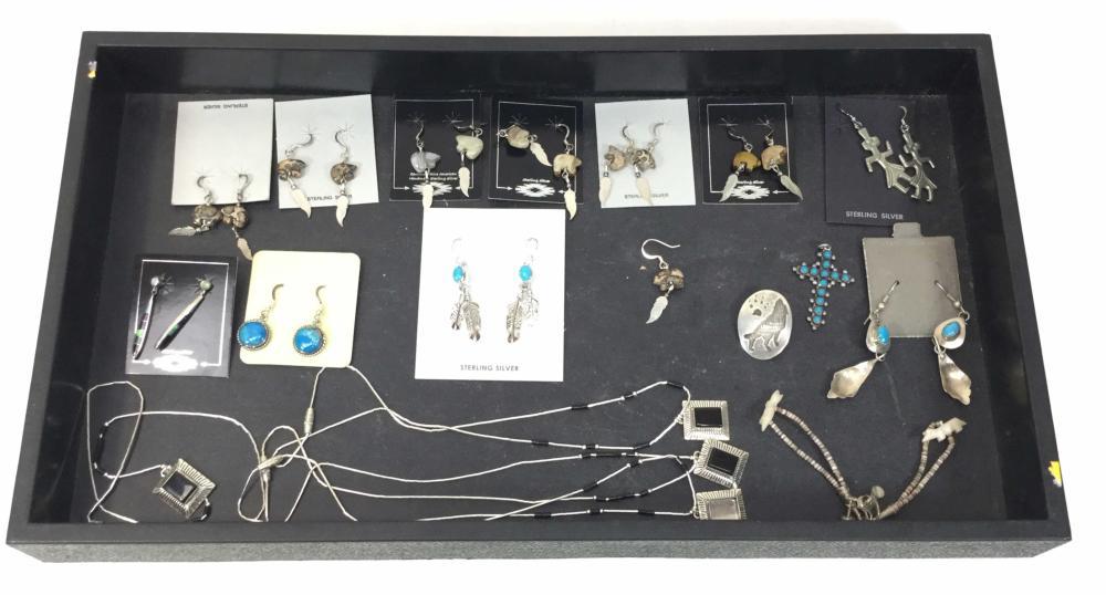 Southwestern Sterling Silver Onyx & Turquoise Earrings