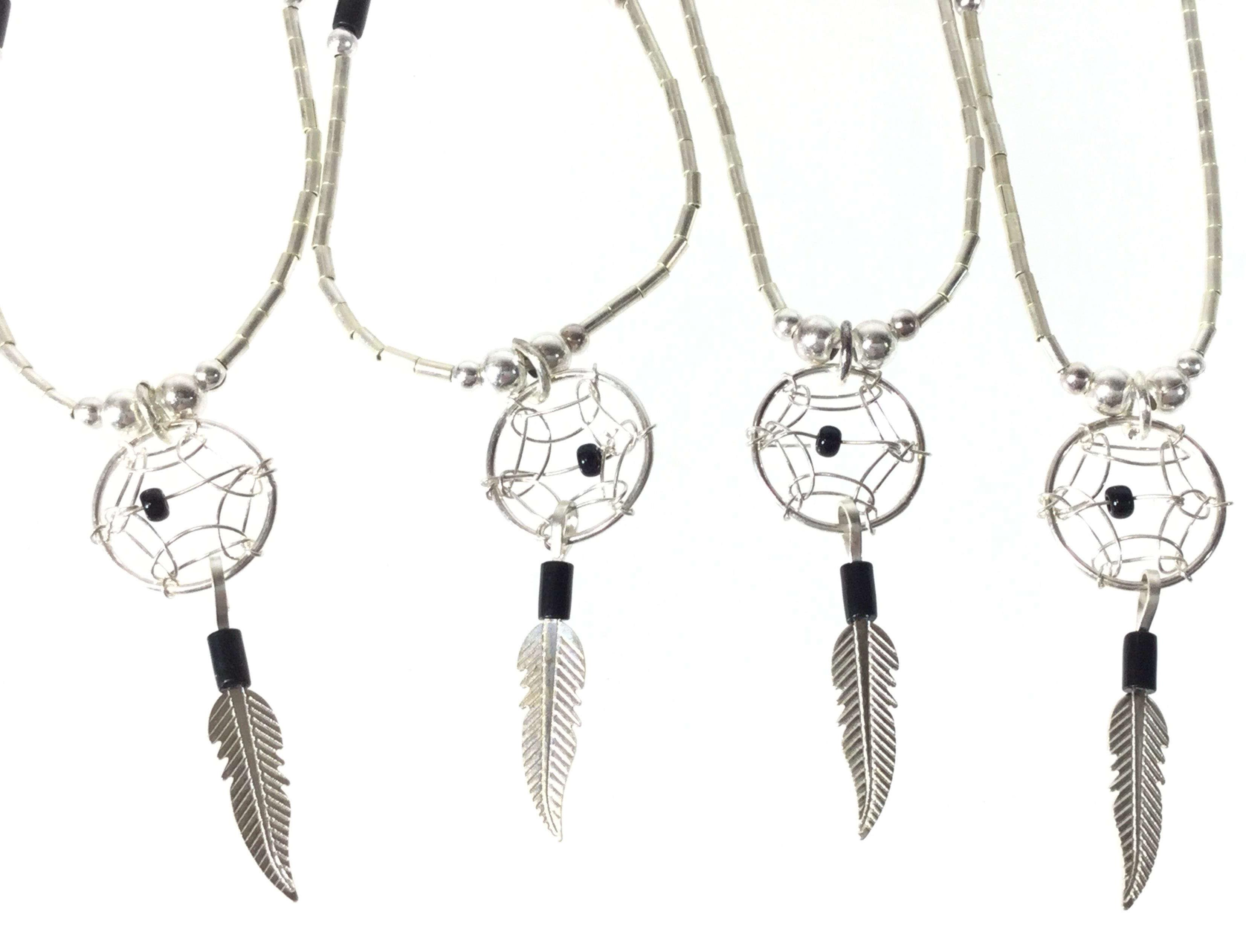 (9) Liquid Silver & Onyx Feather Necklaces