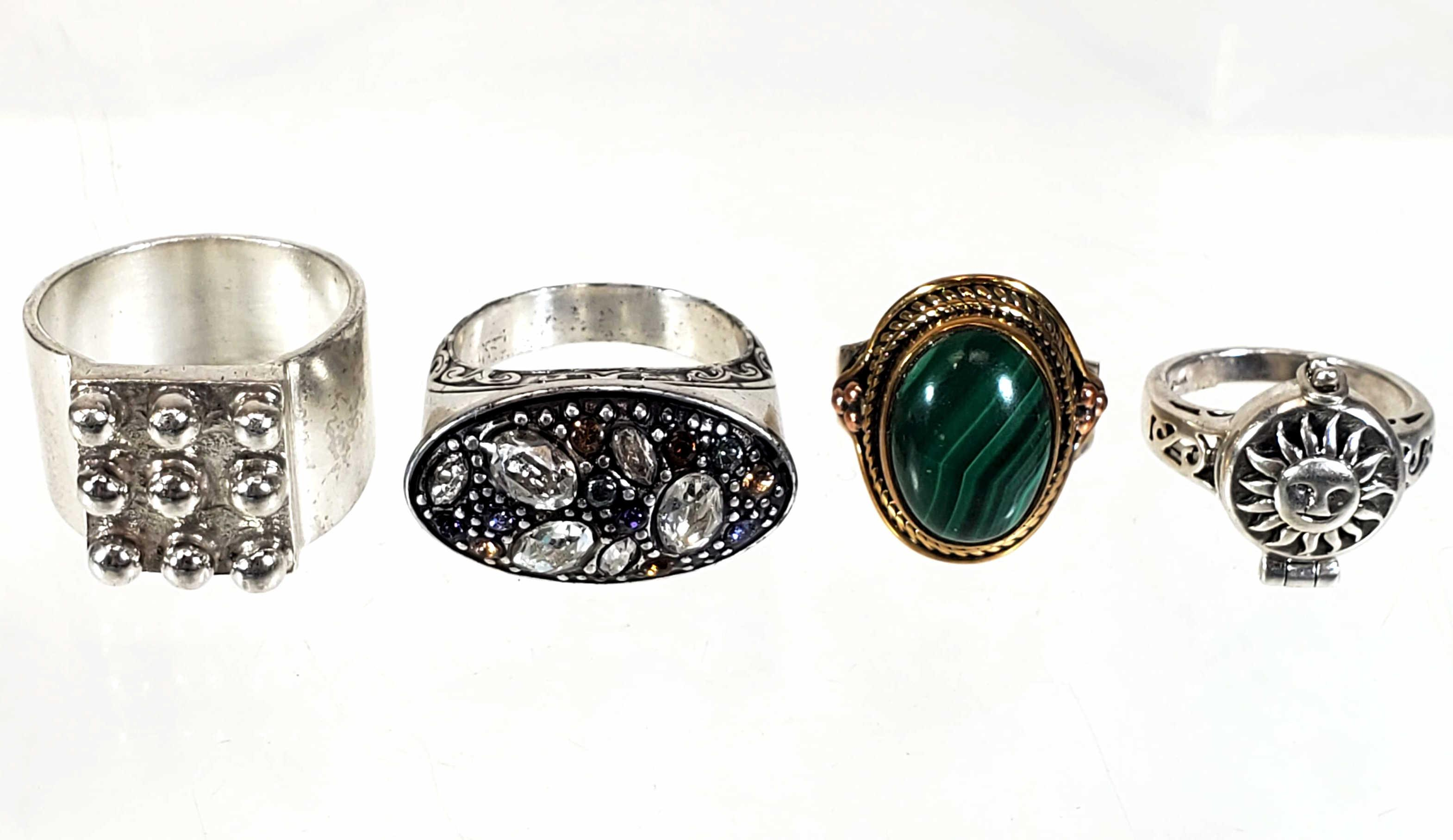 (3) Sterling Silver Malachite & Quartz Rings