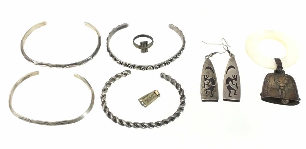 Sterling Silver Jewelry, Cuffs, Earrings, Ring & Bell