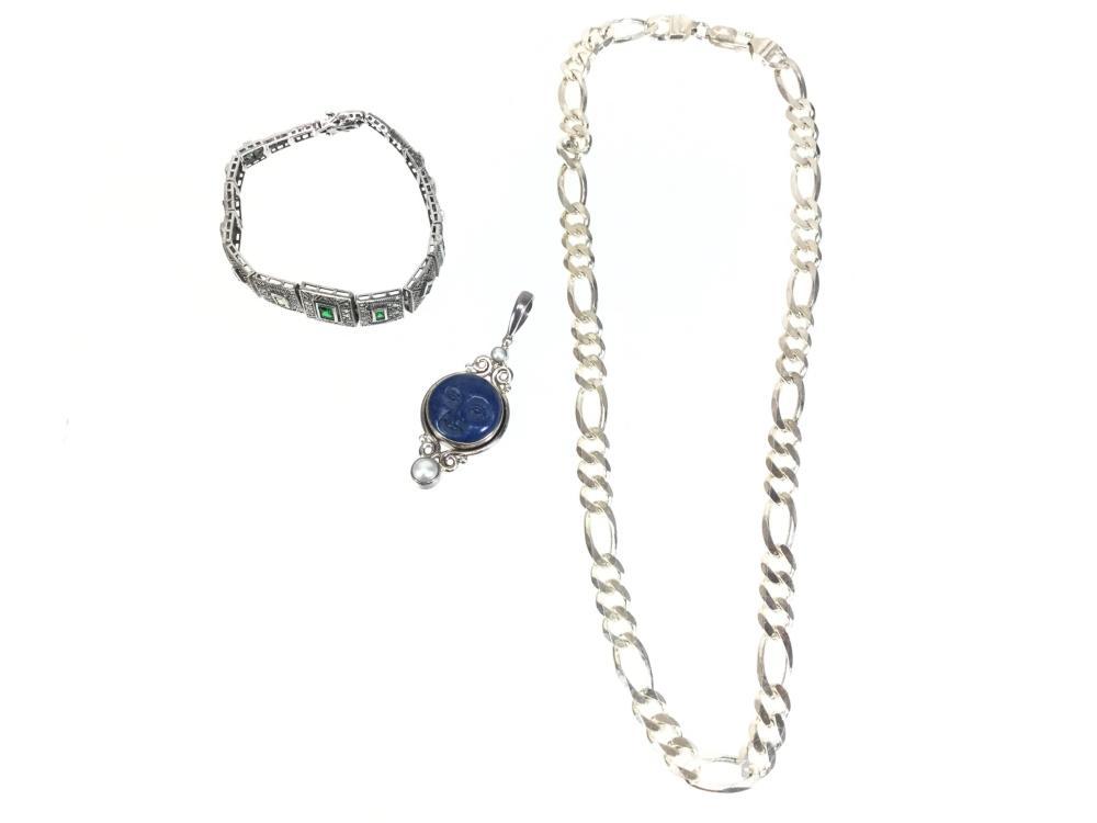 Sterling Silver Lapis & Pearl Bracelets & Pendant