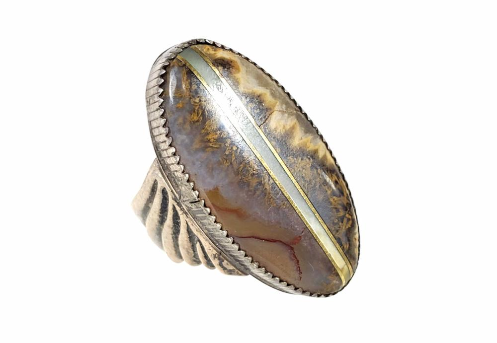 Sterling Silver Amber & Agate Earrings, Ring, Pendant