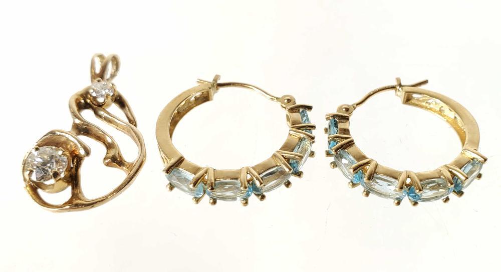 14K Diamond & Aquamarine Earrings & Pendant