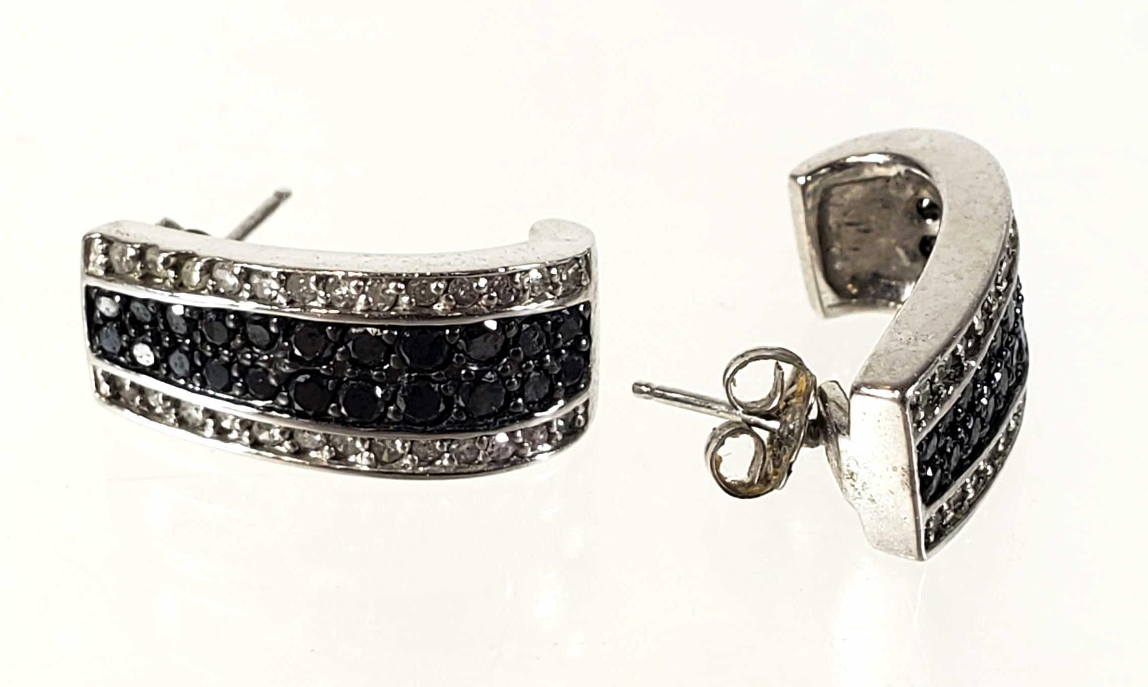 Pair 10K White Gold & Diamond Earrings