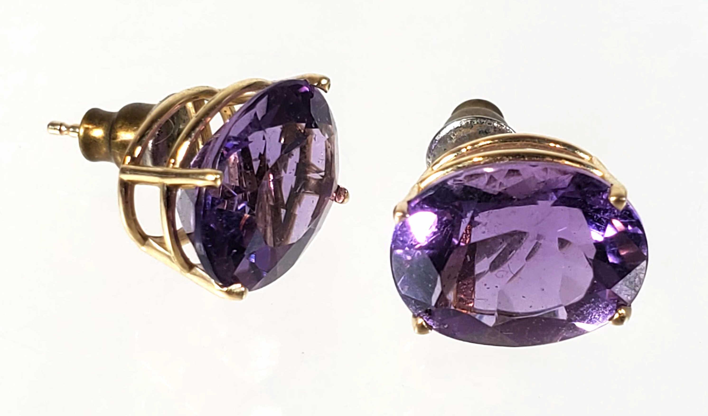 14K Gold & Amethyst Stud Earrings