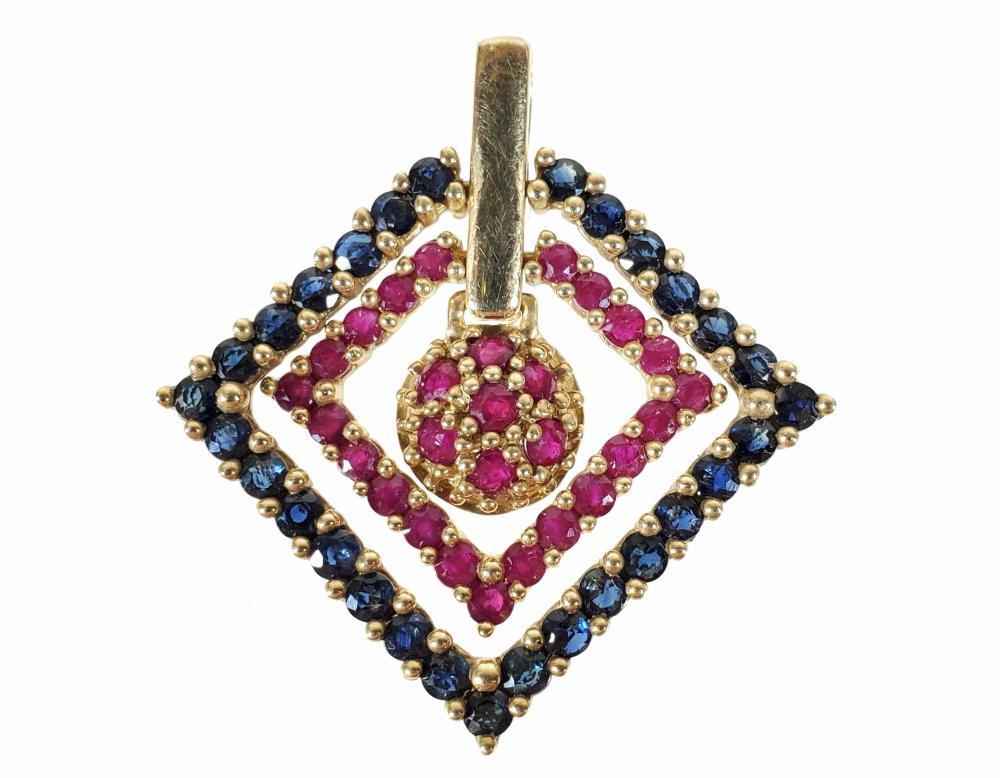 10k Gold, Ruby & Sapphire Pendant