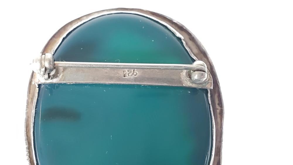 Sterling Silver & Jadeite Brooch