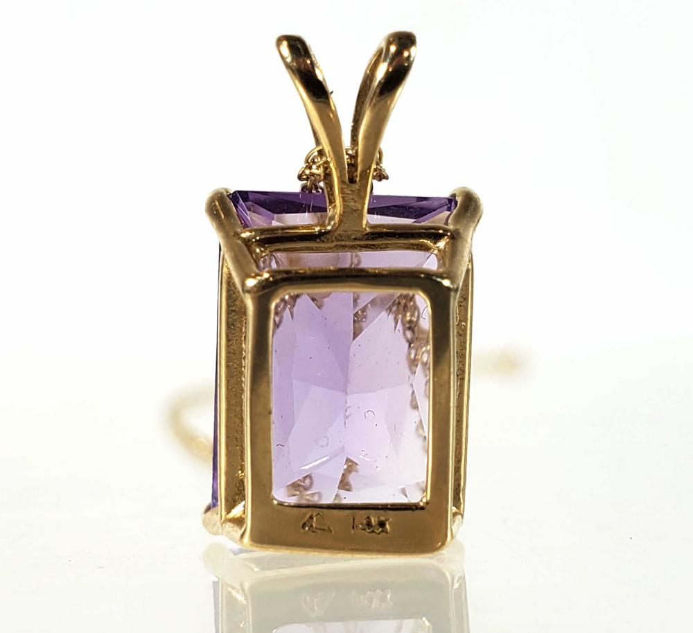 14K Gold & Faceted Amethyst Pendant Necklace