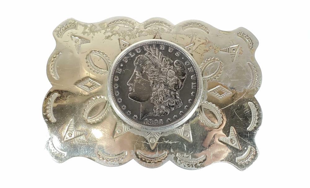 1921 & 1885 Morgan Silver Dollar Buckles