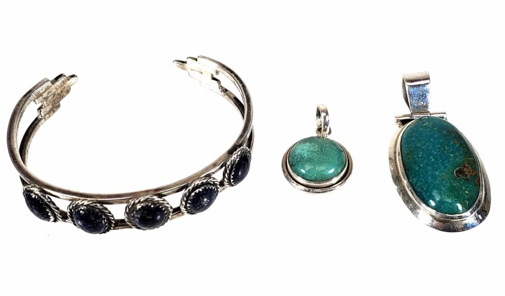 Sterling Silver Lapis & Turquoise Cuff & Pendants