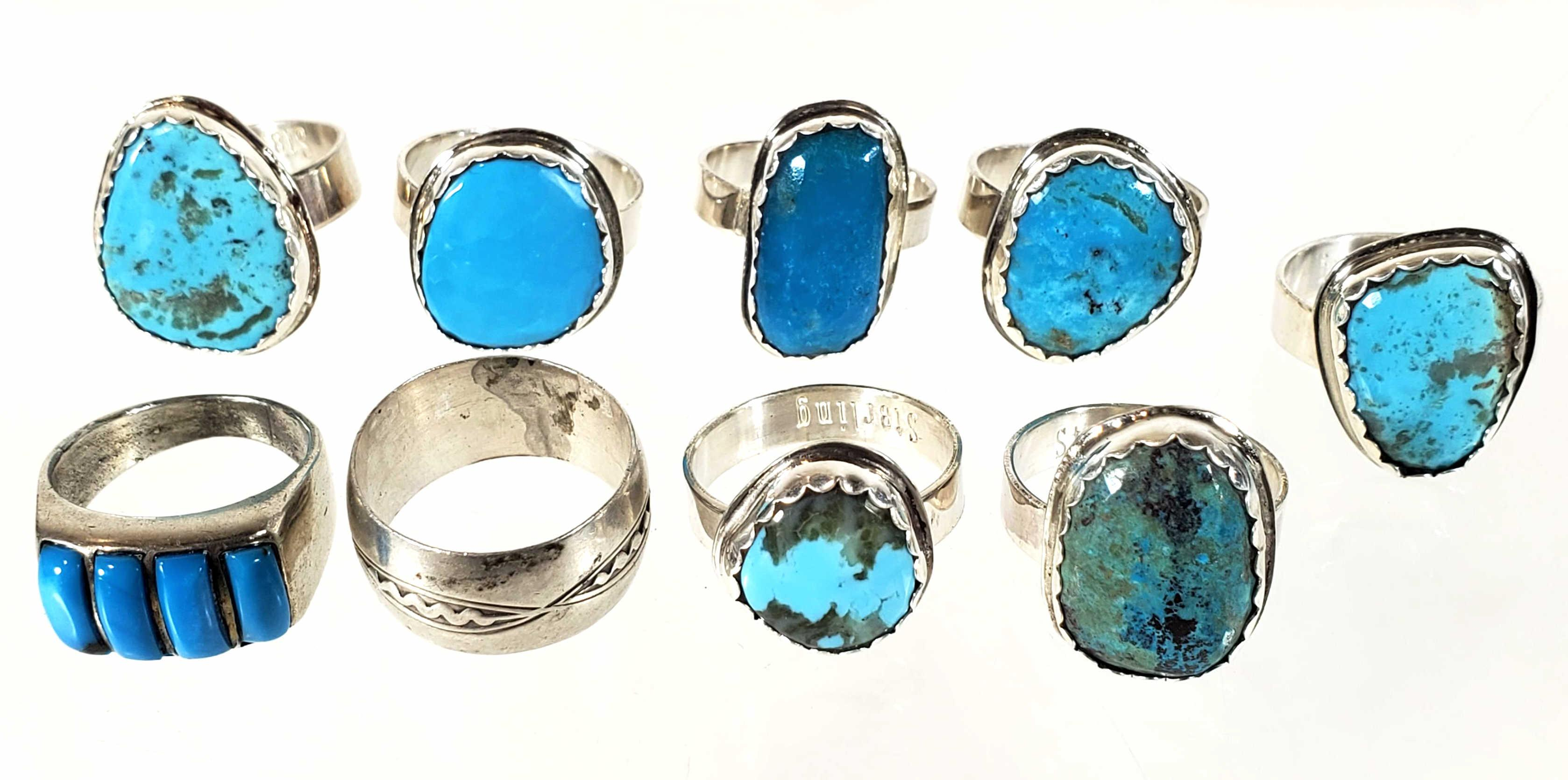 Native American Sterling Silver & Turquoise Rings